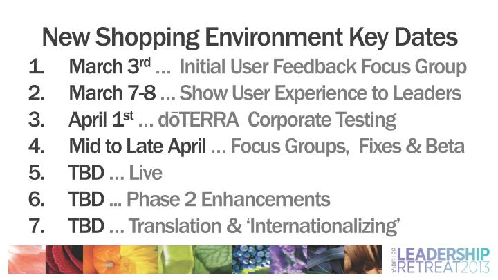 New Shopping Environment Key Dates