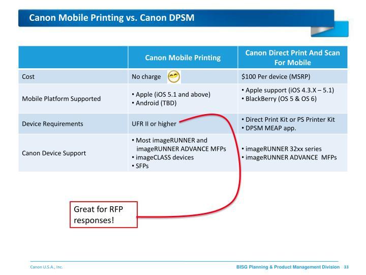 Canon Mobile Printing vs. Canon DPSM