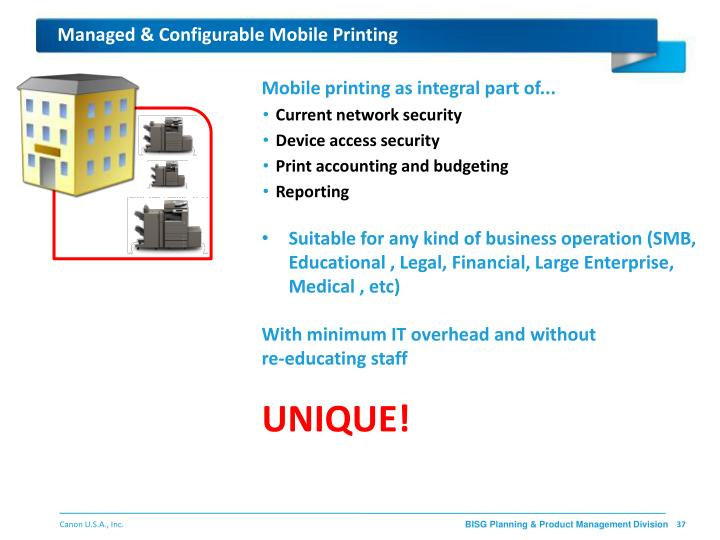 Managed & Configurable Mobile Printing
