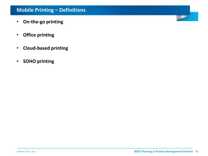 Mobile Printing – Definitions
