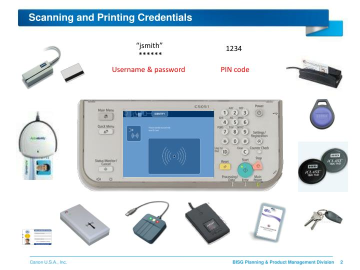 Scanning and printing credentials