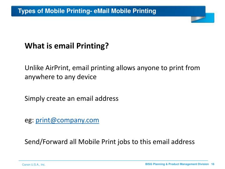 Types of Mobile Printing- eMail Mobile Printing