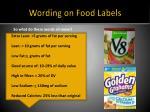 wording on food labels