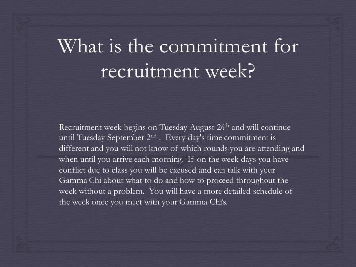 Recruitment week begins on Tuesday August 26