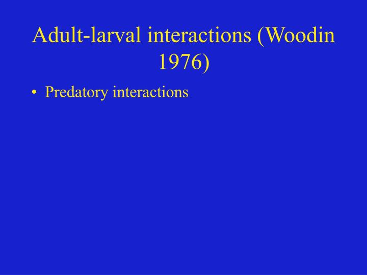 Adult-larval interactions (Woodin 1976)
