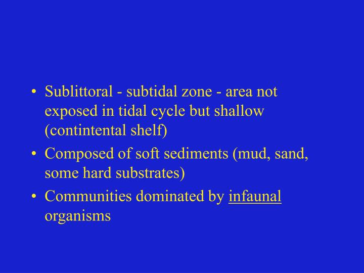 Sublittoral - subtidal zone - area not exposed in tidal cycle but shallow (contintental shelf)