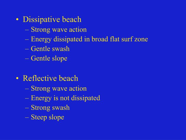 Dissipative beach