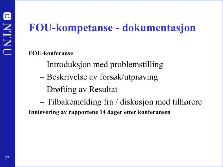 FOU-kompetanse - dokumentasjon