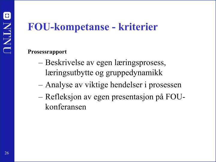 FOU-kompetanse - kriterier