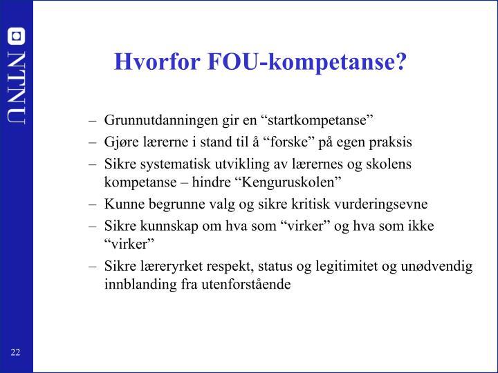 Hvorfor FOU-kompetanse?