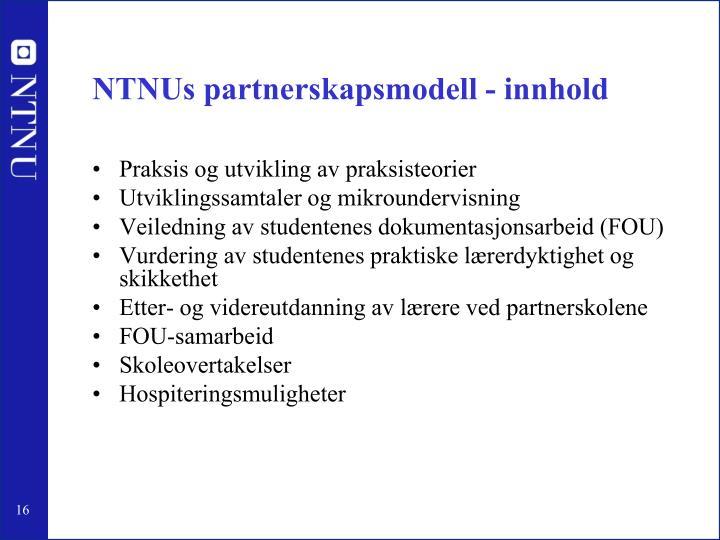 NTNUs partnerskapsmodell - innhold