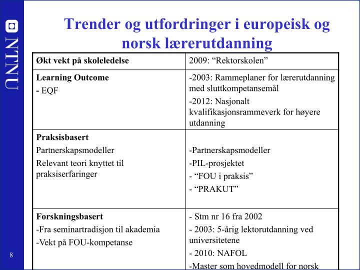 Trender og utfordringer i europeisk og