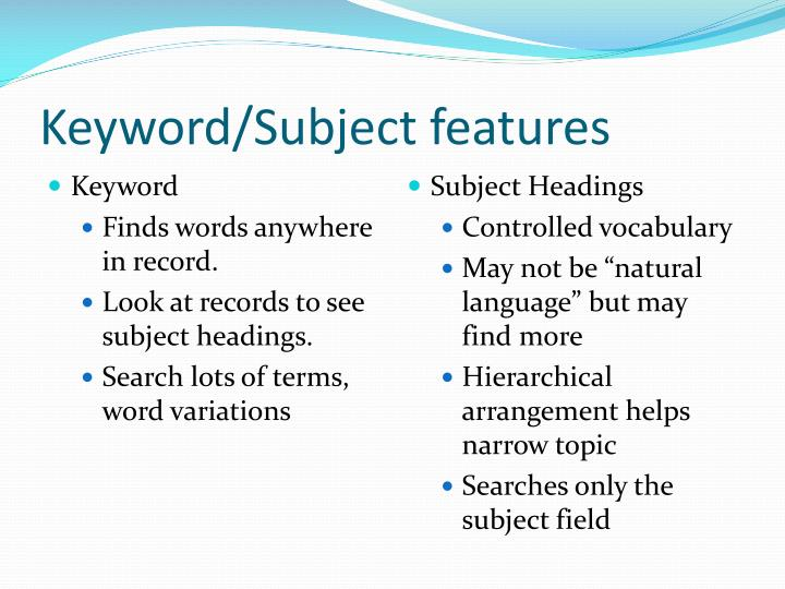 Keyword/Subject features