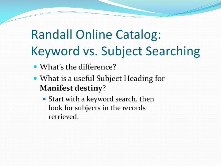 Randall Online Catalog: