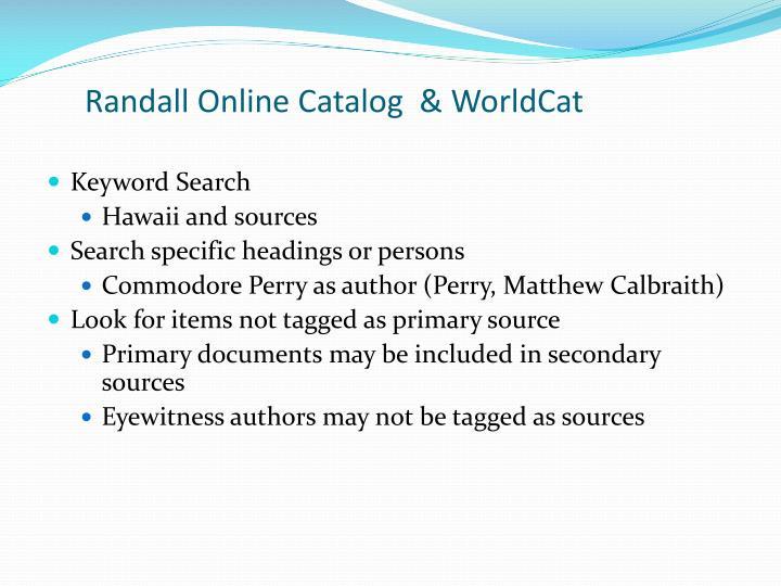 Randall Online Catalog  &