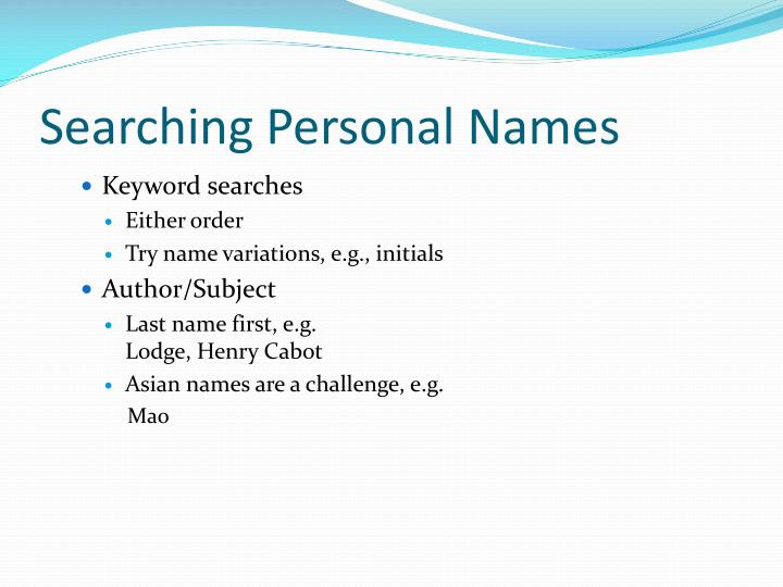 Searching Personal Names