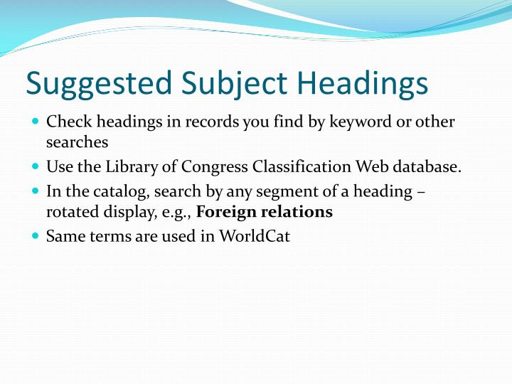 Suggested Subject Headings