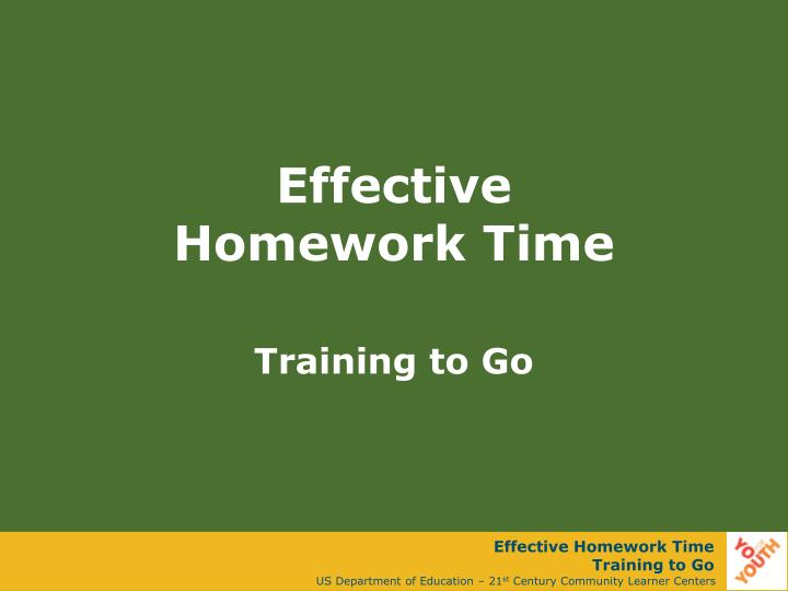 Effective homework time