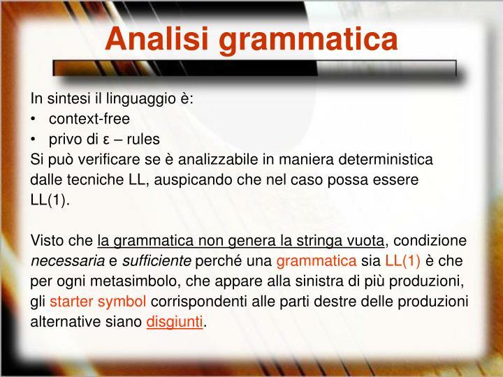 Analisi grammatica