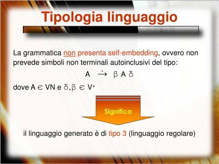 Tipologia linguaggio
