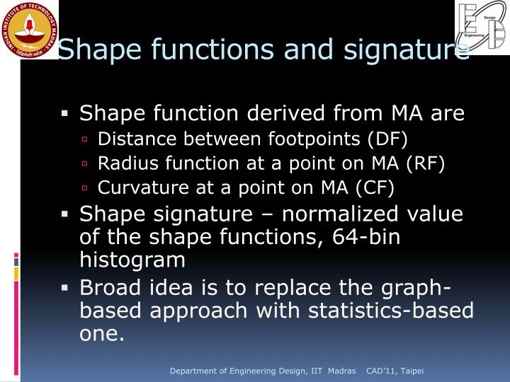 Shape functions and signature