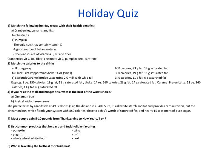 Holiday quiz