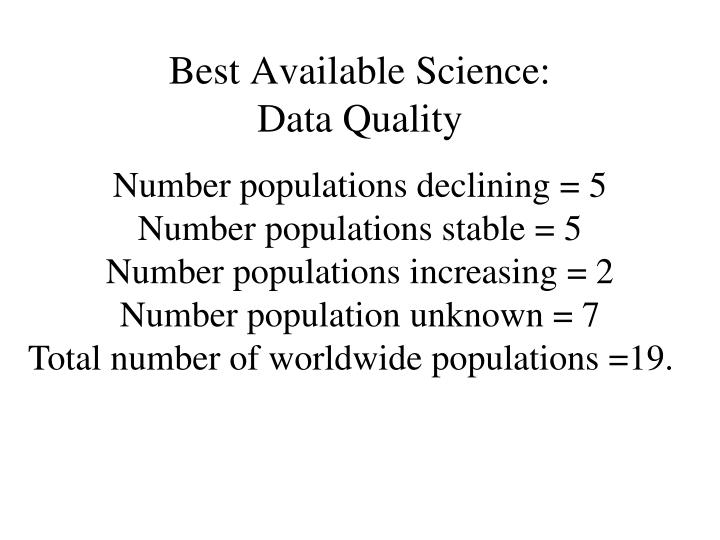 Best Available Science: