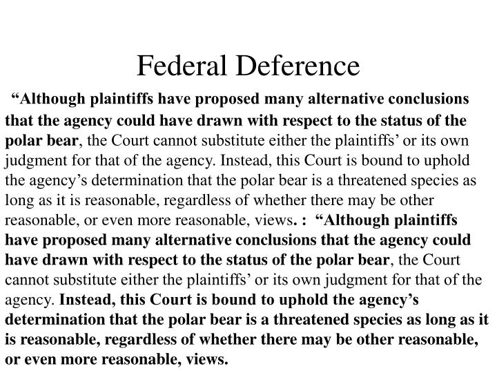 Federal Deference