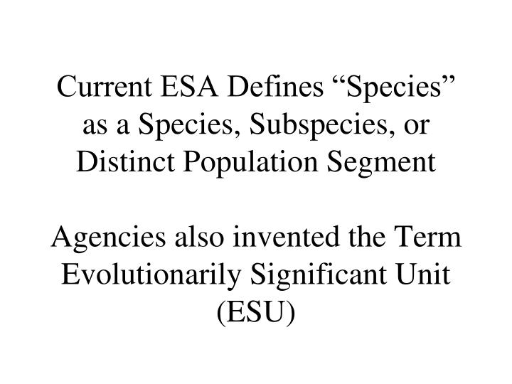 "Current ESA Defines ""Species"" as a Species, Subspecies, or Distinct Population Segment"