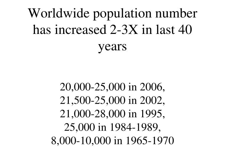 Worldwide population number has increased 2-3X in last 40 years
