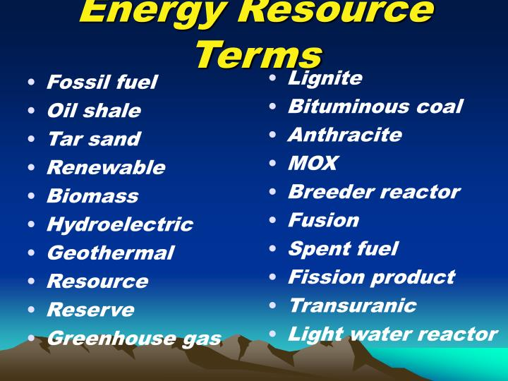 Energy Resource Terms
