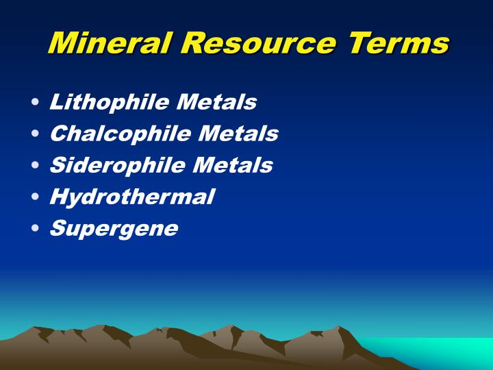 Mineral Resource Terms