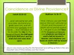 coincidence or divine providence