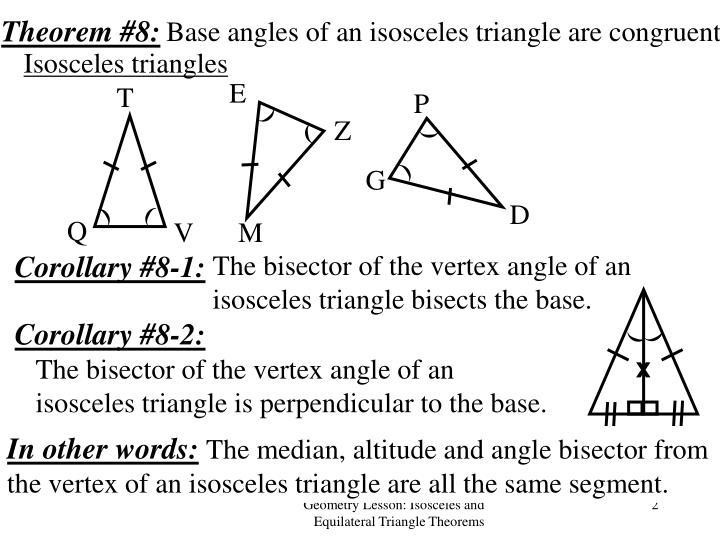 Isosceles Triangle Theorem: