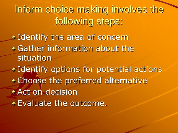 Inform choice making involves the following steps: