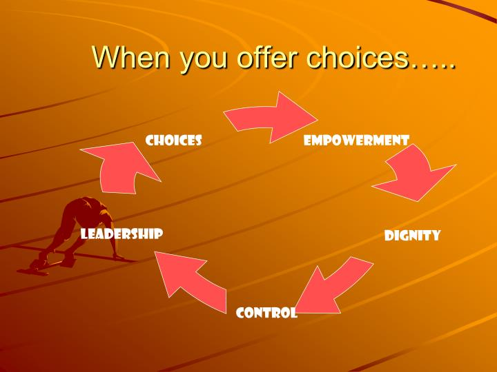 When you offer choices…..