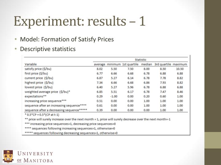 Experiment: results – 1