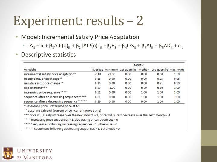 Experiment: results – 2