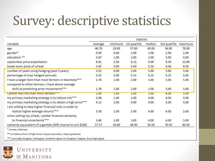 Survey: descriptive statistics