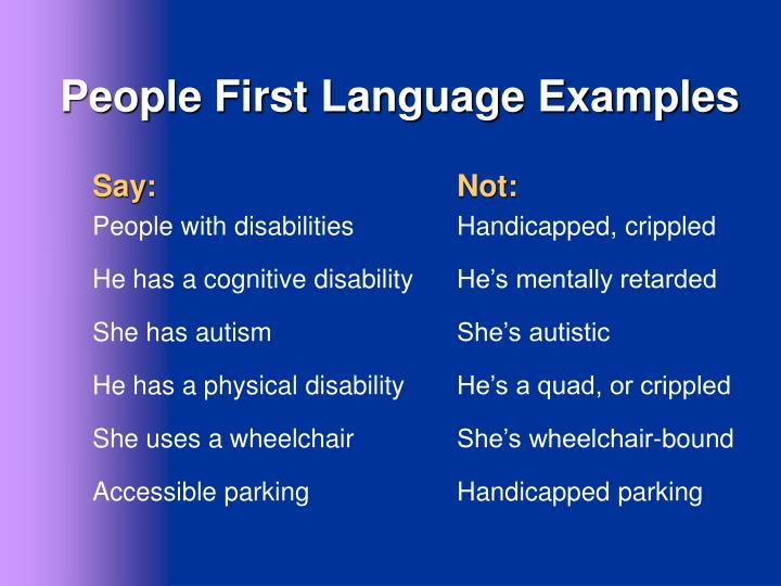 People First Language Examples
