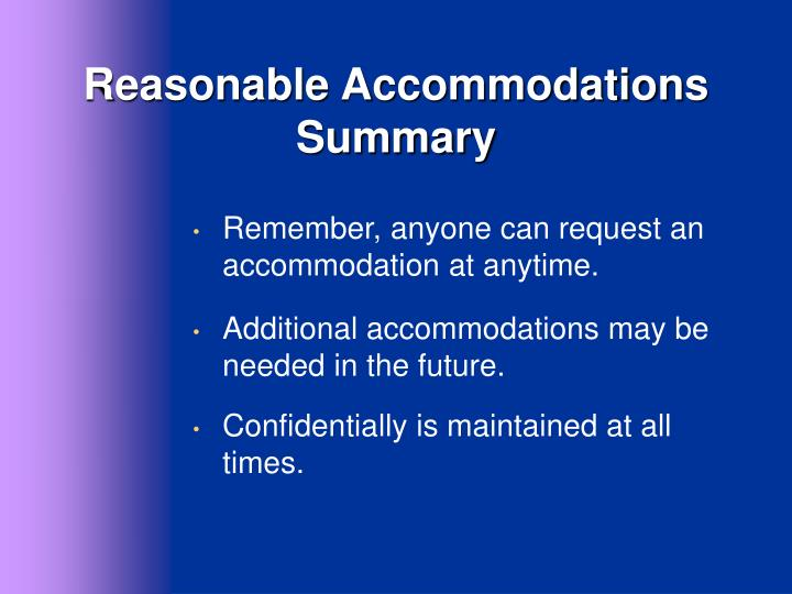 Reasonable Accommodations Summary