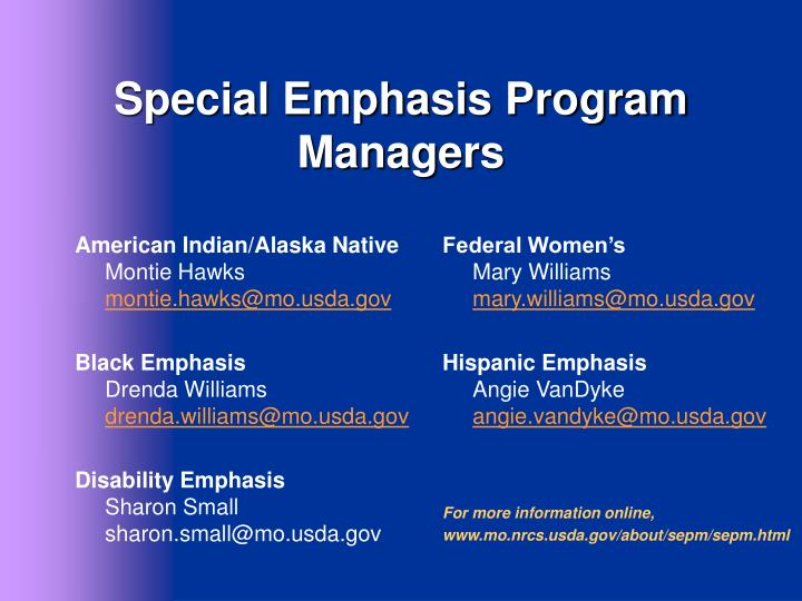 Special Emphasis Program