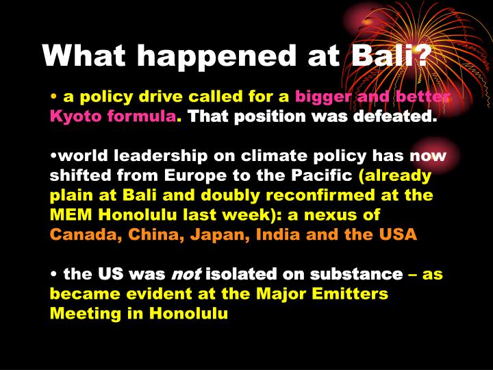 What happened at Bali?