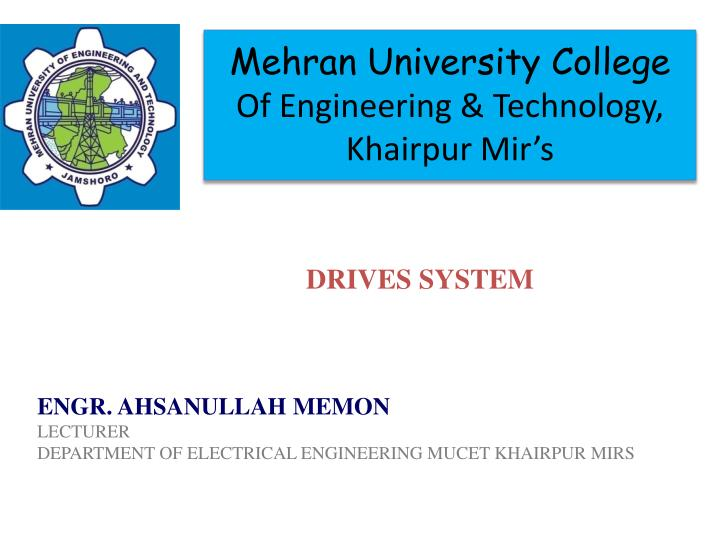 Mehran university college of engineering technology khairpur mir s