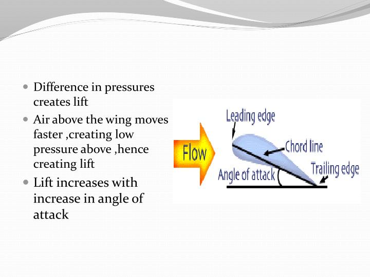 Difference in pressures creates lift