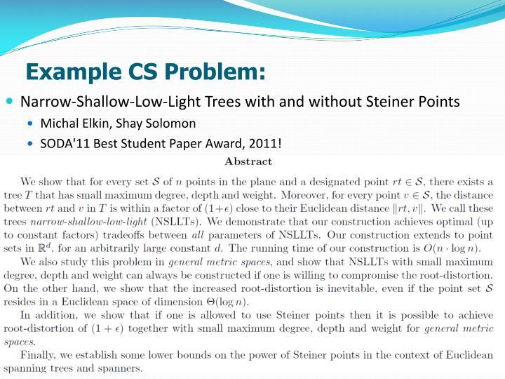 Example CS Problem: