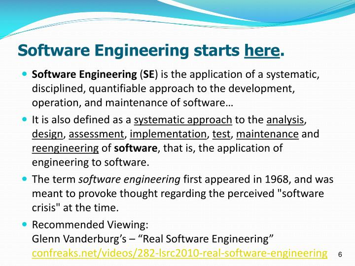 Software Engineering starts