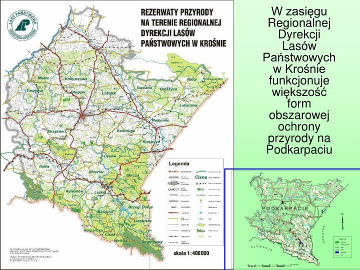 W zasięgu Regionalnej Dyrekcji Lasów Państwowych w Krośnie funkcjonuje większość form obszarowej ochrony przyrody na Podkarpaciu
