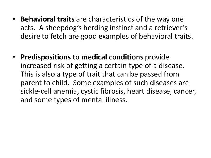 Behavioral traits