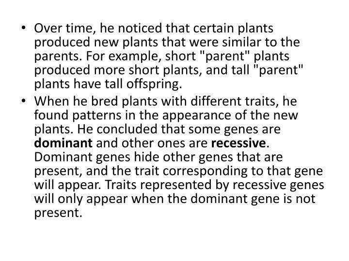 "Over time, he noticed that certain plants produced new plants that were similar to the parents. For example, short ""parent"" plants produced more short plants, and tall ""parent"" plants have tall offspring."